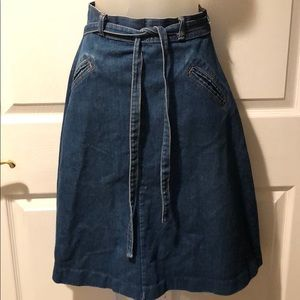 Vintage 1970's Denim Wrap Tie Midi Jeans Skirt M